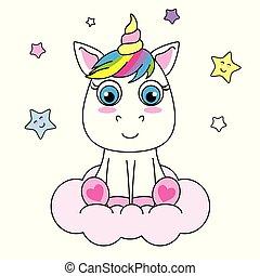Cute Cartoon Unicorn sitting on a cloud