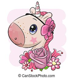 Cartoon Unicorn with flowers on a pink background