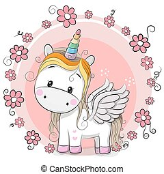 Cute Cartoon Unicorn with flowers on a pink background