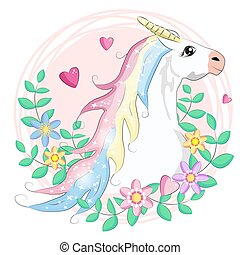 Cute Cartoon Unicorn with flowers on pink background