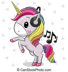 Cartoon Unicorn with headphones on a white background
