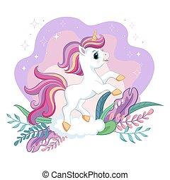 Cute cartoon unicorn with magic plants vector illustration