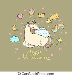 Cute cartoon unicorn with wings.