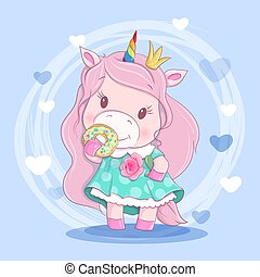 Cute cartoon unirog girl in a wreath of flowers and a donut with icing. Vector illustration