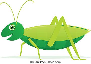 Cute Cartoon Vector Grasshopper
