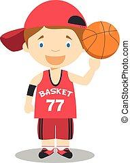 Cute cartoon vector illustration of a basketball player