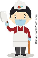 Cute cartoon vector illustration of a butcher with surgical mask and latex gloves as protection against a health emergency