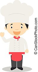 Cute cartoon vector illustration of a chef