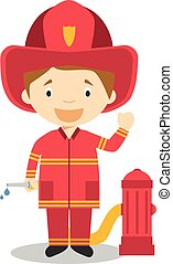 Cute cartoon vector illustration of a firefighter