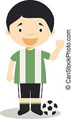 Cute cartoon vector illustration of a football player