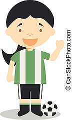 Cute cartoon vector illustration of a football player. Women Professions Series
