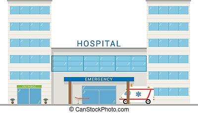Cute cartoon vector illustration of a hospital with ambulance