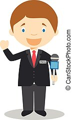 Cute cartoon vector illustration of a journalist