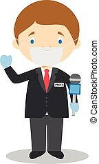Cute cartoon vector illustration of a journalist with ...