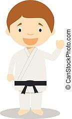 Cute cartoon vector illustration of a karateka