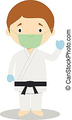 Cute cartoon vector illustration of a karateka with surgical mask and latex gloves as protection against a health emergency