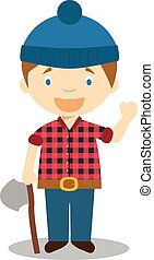 Cute cartoon vector illustration of a lumberjack