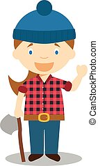 Cute cartoon vector illustration of a lumberjack. Women Professions Series
