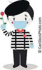 Cute cartoon vector illustration of a mime with surgical mask and latex gloves as protection against a health emergency