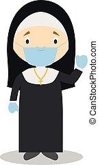 Cute cartoon vector illustration of a nun with surgical mask and latex gloves as protection against a health emergency