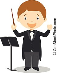 Cute cartoon vector illustration of a orchestra director