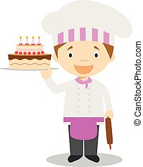 Cute cartoon vector illustration of a pastry chef