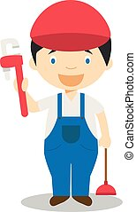 Cute cartoon vector illustration of a plumber