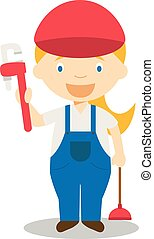 Cute cartoon vector illustration of a plumber. Women Professions Series