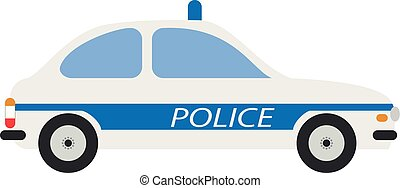 Cute cartoon vector illustration of a police car