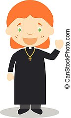 Cute cartoon vector illustration of a priest. Women...