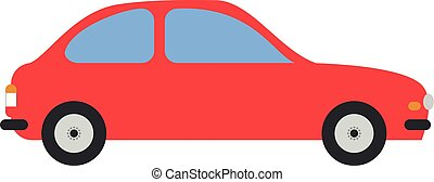 Cute cartoon vector illustration of a red car