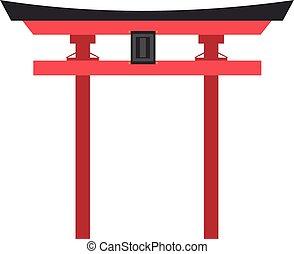 Cute cartoon vector illustration of a Shintoist Torii Gate
