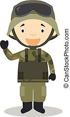 Cute cartoon vector illustration of a soldier