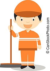 Cute cartoon vector illustration of a street sweeper