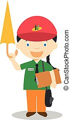 Cute cartoon vector illustration of a touristic guide. Women Professions Series