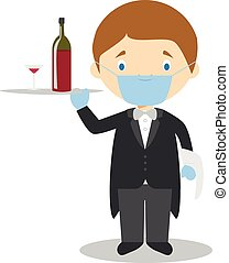 Cute cartoon vector illustration of a waiter with surgical mask and latex gloves as protection against a health emergency