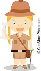 Cute cartoon vector illustration of an archaeologist. Women Professions Series