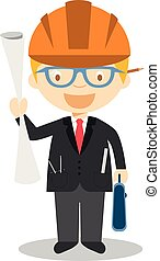 Cute cartoon vector illustration of an architect