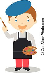 Cute cartoon vector illustration of an artist