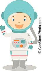 Cute cartoon vector illustration of an astronaut