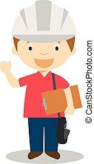 Cute cartoon vector illustration of an engineer
