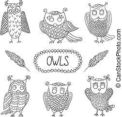 Cute cartoon vector owls with feathers