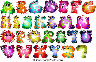 Cute Cartoon Vibrant Virus Alphabet Letters