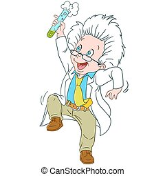 cute, cartoon, videnskabsmand