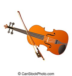 Cute cartoon violin Isolated on the white background. Vector illustration.