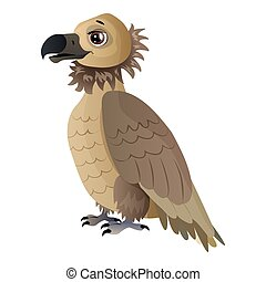 Cute cartoon vulture Isolated on the white background. Vector illustration.