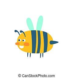 Cute cartoon wasp, colorful character vector Illustration