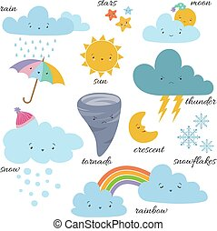 Cute cartoon weather icons. Forecast meteorology vector vocabulary symbols