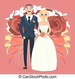 Wedding couple with bouquet