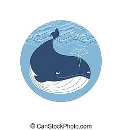 Cute cartoon whale icon - Blue whale icon. Cute cartoon...